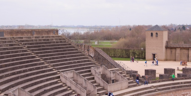 Amphitheater overlooking the Rhine at Xanten Archeological Park