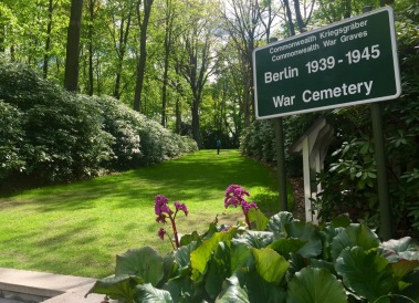 The modest entry path to the Commonwealth Berlin War Cemetery on Heerstrasse