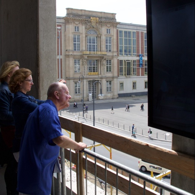 Looking out at the old City Palace's Liebknecht portal, integrated in the GDR's Staatsrat building