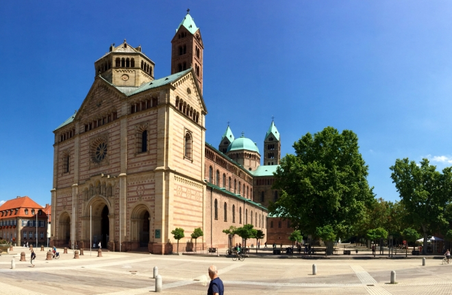 Speer cathedral from the southwest. The west facade's restoration was finished last.