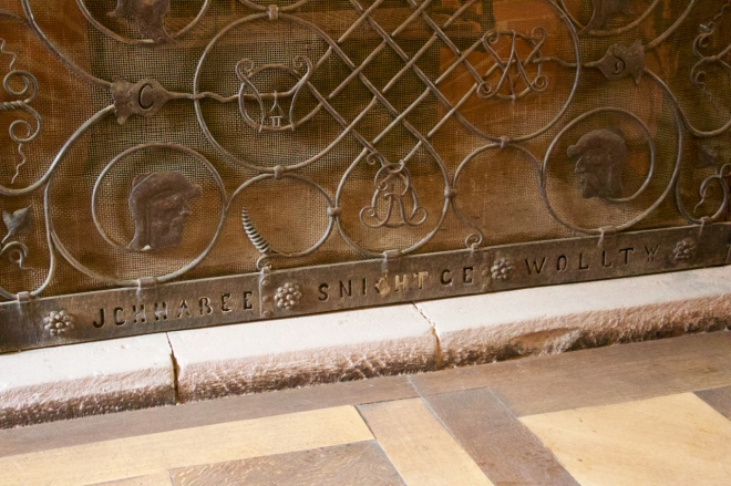 """Wilhelm II's famous fender from 1918 at Haut Koenigsbourg castle. The text translates as """"I did not want this""""."""