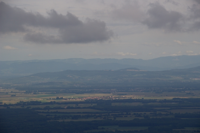 From Ht. Koenigsbourg castle, you can see across the Alsace plain to Germany's Black Forest and Kaiserstuhl (Emperor's Chair)