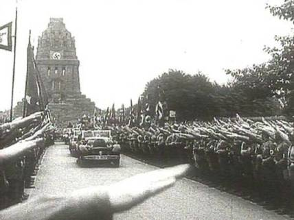 Nazi demonstration at Leipzig's Monument for the Battle of the Nations