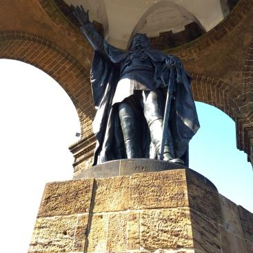 Kaiser Wilhelm Monument (1896) at Porta Westfalica. The Kaiser is shown as a triumphant Caesar, bearing a laurel wreath.