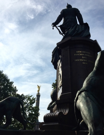 Bismarck statue (and Victory Column) in Berlin. Both were moved from in front of the Reichstag to their current location in 1939.