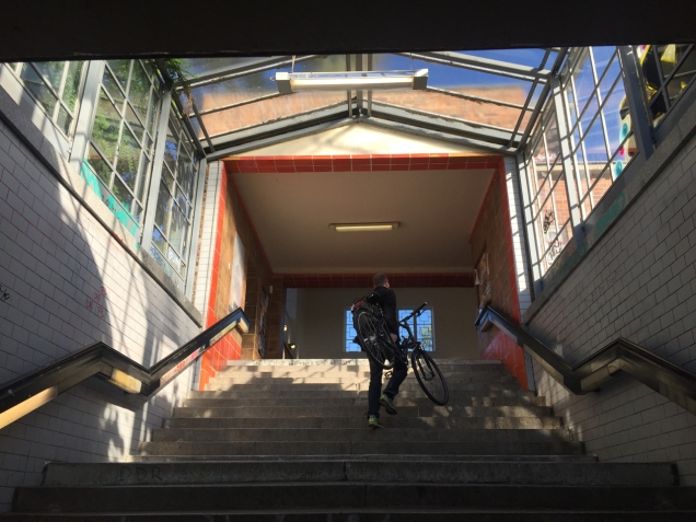 In many S-Bahn stations (like here at Griebnitzsee), you have to carry your bike to the platform!