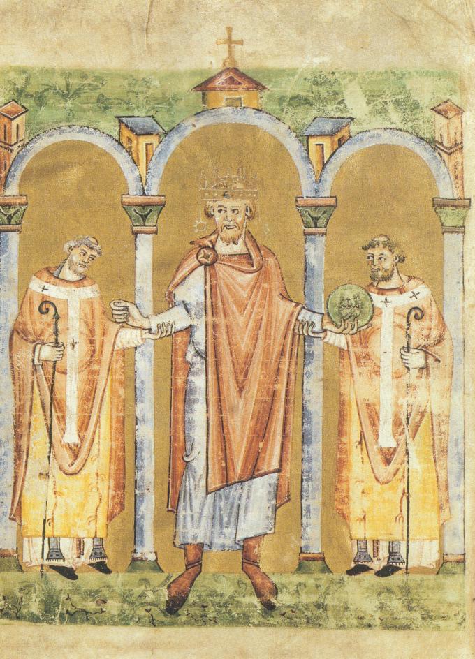 Emperor Henry II entering a church, accompanied by two bishops. Staatsbibliothek Bamberg, Msc. Lit. 53, fol. 2v