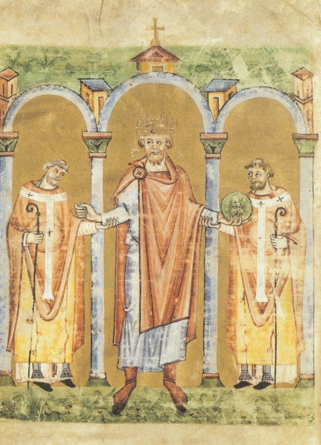 Emperor Henry II entering a church, accompanied by two bishops. Staatsbibliothek Bamberg, Msc. Lit. 53, fol. 2v