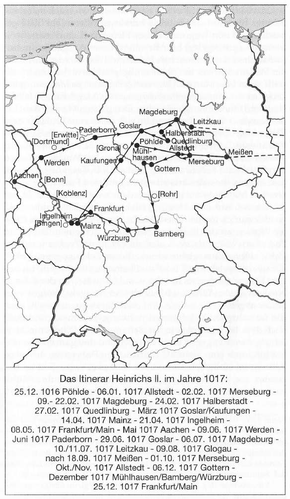 Map of Henry II's 1017 itinerary